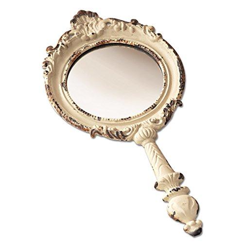 Loberon Miroir portatif Empuré - étain, Verre - H/L/P env. 23.5/11.5/2 cm