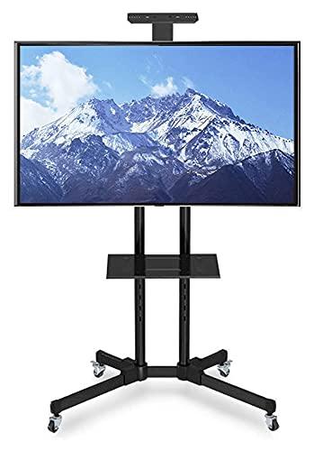 TabloKanvas Soporte para TV con base para TV con ruedas de bloqueo de 32 a 65 pulgadas (color: negro)