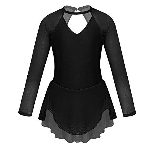 ACSUSS Girls Sequins Long Sleeves Figure Ice Roller Skating Dress Gymnastics Leotard Ballet Tutu Dress Dancewear Halter Black 6
