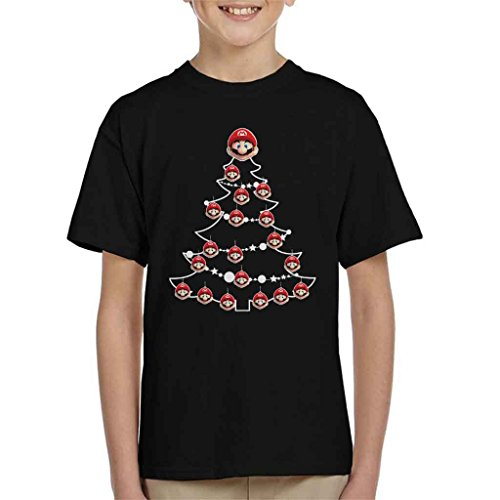 Super Mario Christmas Tree Baubles Kid's T-Shirt