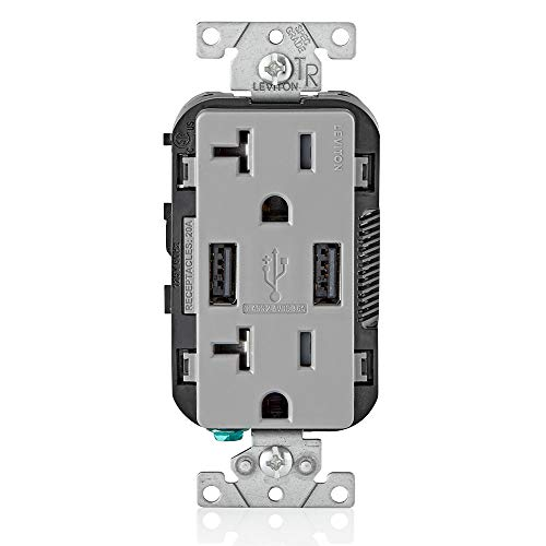Leviton T5832-GY 20-Amp USB Charger/Tamper Resistant Duplex Receptacle, Gray, 1-Pack