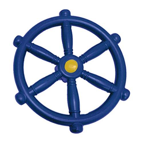 SunniMix Hohe Qualität Tragbare Pirate Schiff Rad Kinder Lenkrad für Schaukel Spielplatz Hinterhof - Blau
