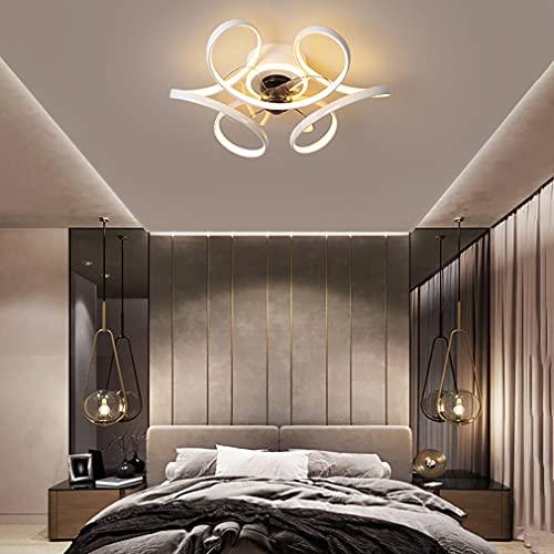 YUNLONG LED Lamparas Ventilador De Techo Dormitorio con Mando Distancia, Moderno Regulable Ventilador Techo con Luz Silencioso 48W con Temporizador 3 Velocidades Ventilador Techo,Blanco
