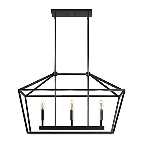 "MOTINI 3-Light Kitchen Island Lantern Pendant Linear Chandelier Black Rod Hanging Light 32""x 12""x 19"""