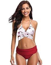 SHEKINI Women's Push-up Halter Bandage Bikini Swimsuits Ruched Swim Bottoms