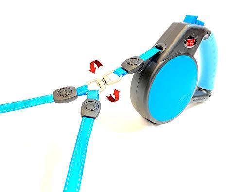 Wigzi Ausziehbare Hundeleine für Zwei Hunde, 360 Grad, kein Verheddern, mit reflektierender Kupplung, Gesamtgewicht: 50 kg.