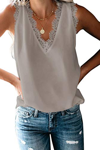 FIYOTE Damen T-Shirt Bluse Blusentop Elegant Hemdbluse V-Ausschnitt Tunika Tops Tank Tops Blusentop Oberteile 1-Grau 40-42