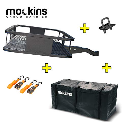 "Mockins Hitch Mount Cargo Carrier | The Steel Cargo Basket is 60"" Long X 20"" Wide X 6"" Tall with A Hauling Weight Capacity of 500 Lbs and A Folding Shank to Preserve Space When Not in Use …"