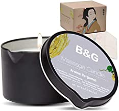 B & G Massage Candle - 6.5Oz Aromatherapy Scented Candle Moisturizing Luxurious Intimacy Relaxing Essential Oil Body Massage Candle for Home Spa - Bergamot