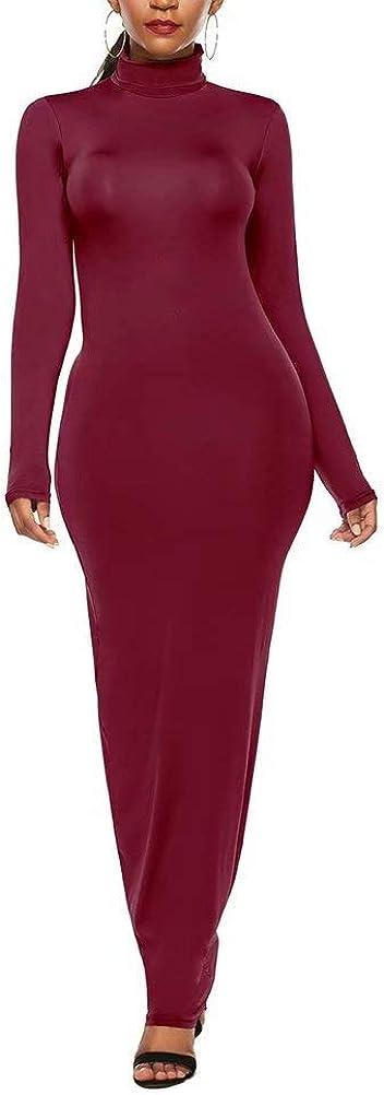 Women Sexy Solid Long Sleeve Turtleneck Bodycon Slim Sheath Long Maxi Pencil Dress Plus Size