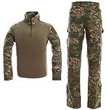 Traje táctico para Hombres Camisa y pantalón de Combate Conjunto de Manga Larga Ripstop Multicam Ropa de Airsoft Woodland BDU Hunting Uniforme Militar