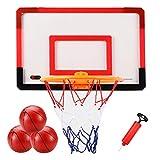 LXLA Canasta Baloncesto Aro de Baloncesto Interior y Tablero de Baloncesto, Juegos de Tablero de Aro de Baloncesto Portátil Montado en La Pared con 3 Bolas y Bomba de Aire, para Niños/Adultos