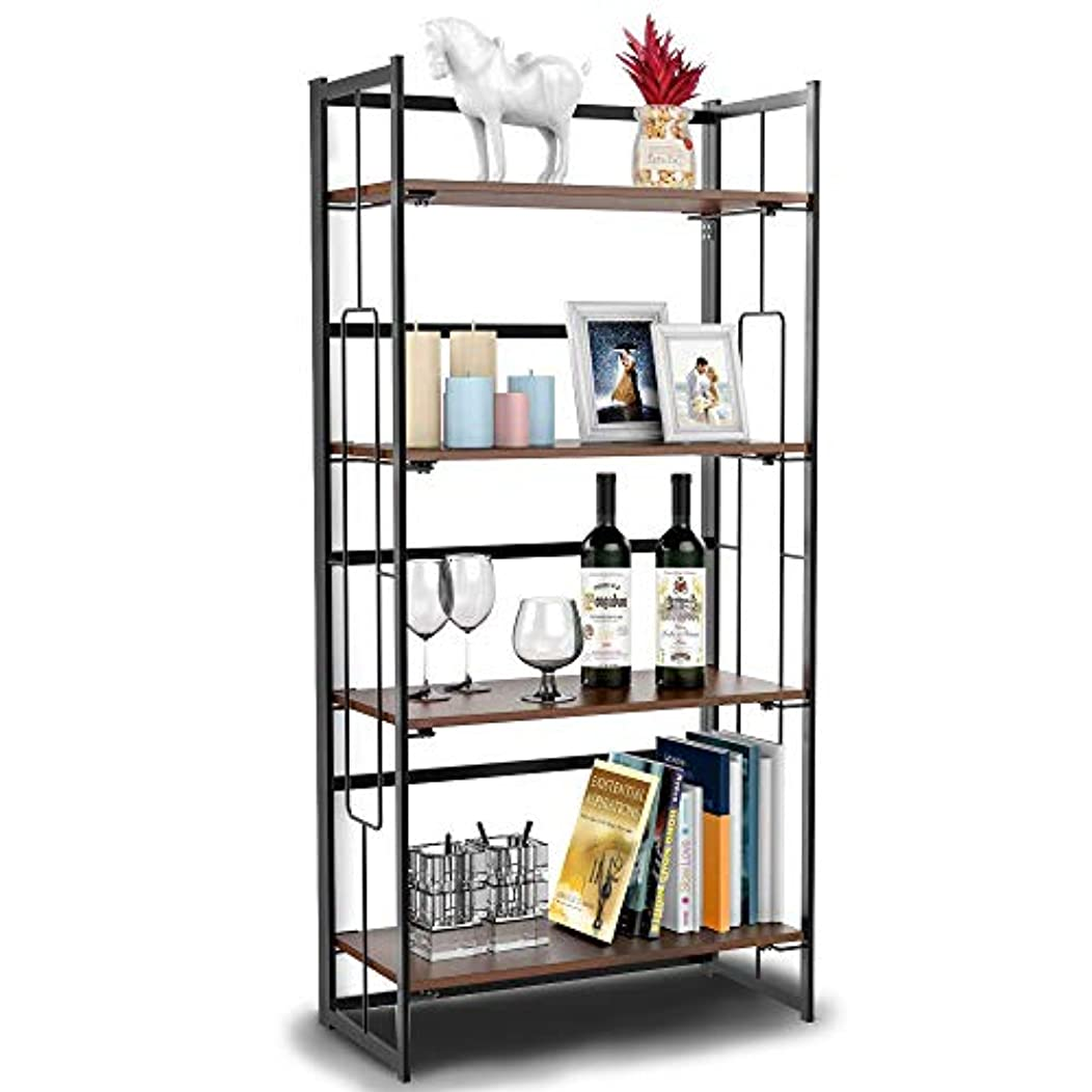 Cyanhope 4 Tier Shelf Industrial Bookshelf/Bookcase Vintage Folding Metal Frame Display Rack No-Assembly Home Office Furniture