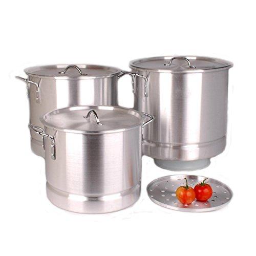 9819 Uniware Professional Aluminum Stock Pot With Steamer Set of 3, 64 QT, 84 QT, 100 QT