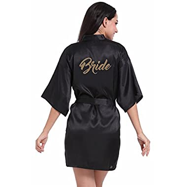 Zhongde Women's Half Sleeve Soft Satin Bridal Kimono Robe Short Bathrobe For Bride Size M Black