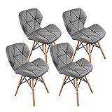 LOVEMYHOUSE Set de 4 sillas de Comedor,Sillas Comedor de PU Sillas de Oficina Gris