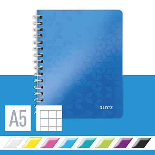 Leitz 46410036 Kollegblock WOW, A5, PP, kariert, holzfrei, 80 Blatt, blau metallic