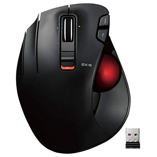 エレコム マウス ワイヤレス トラックボール (親指) 左手専用 赤玉 6ボタン チルト機能(左右スクロール) ゲーミンググレード光学センサー採用 ブラック M-XT4DRBK-G
