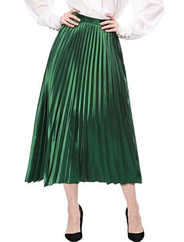 Allegra K Women's Zip Closure Accordion Pleated Metallic Midi Party Skirt Green Medium