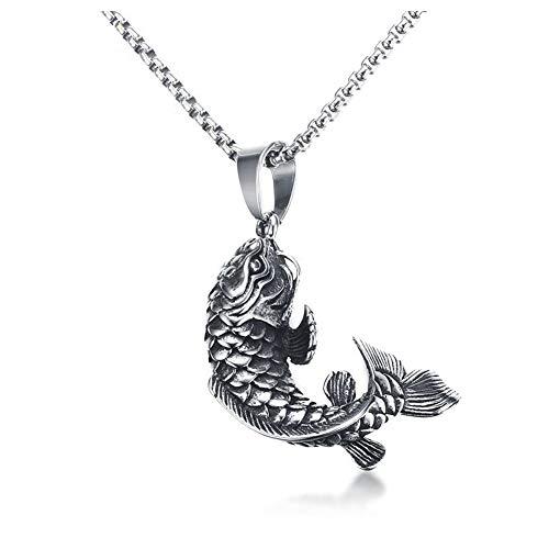 Collar con colgante de acero inoxidable de 4,4 cm, colgante de carpa de peces, cadena de 60 cm, joyería de tendencia.