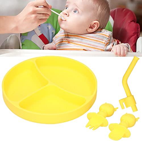 LZKW Plato de Cena para bebés, Placa de succión para niños pequeños a Prueba de Manchas, Firme Brillante para Uso General para niños para niños para Uso Profesional(Yellow)