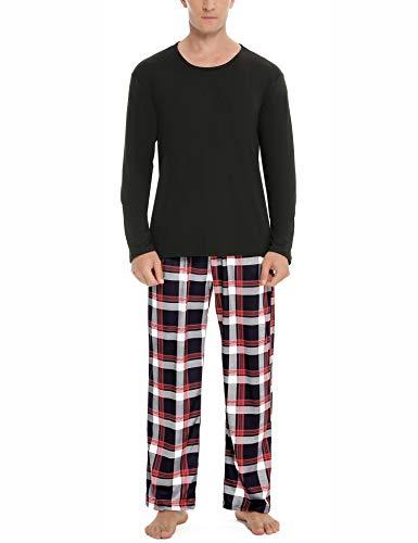 Aibrou Herren Schlafanzug Zweiteiliger Lang Pyjama Set, Nachtwäsche Hausanzug Freizeitanzug Langarm Shirt und Pyjamahose Weich Aus Baumwolle Stil 2:Dunkelschwarz S