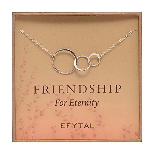 EFYTAL Three Friend Necklace, Sterling Silver Friendship Interlocking Infinity Circles Gift For 2-3 Best Friends