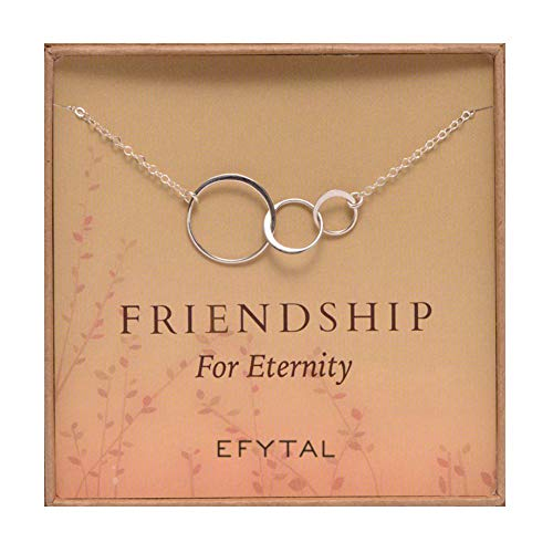 Three Friend Necklace, Sterling Silver Friendship Interlocking Infinity Circles Gift For 2-3 Best Friends