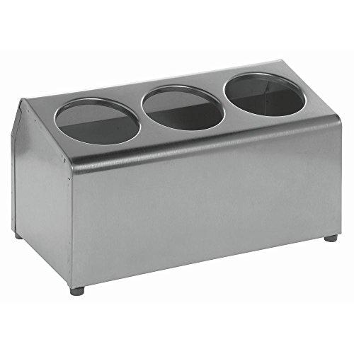 """HUBERT Kitchen Utensil Holder 3 Cylinder Stainless Steel - 15""""L x 7 3/4""""W x 8 1/4""""H"""