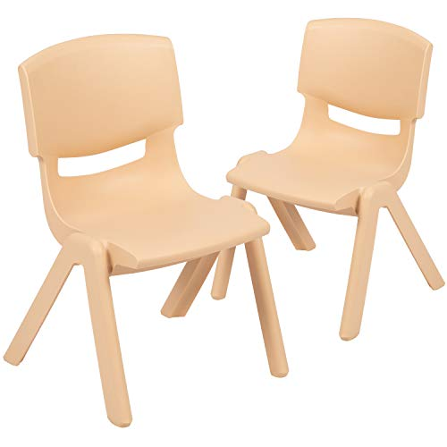 Flash Furniture 2 Pack Natural Plastic Stackable School Chair with 10.5 Seat Height