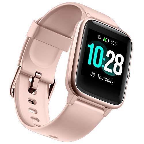 GOIACII Smartwatch Hombre Mujer, Reloj Inteligente Impermeable Pulsera Actividad con Monitor de Sueño Pulsómetros Podómetro Contador de Calorí (Rosa)