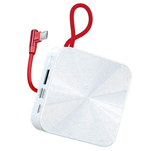 Lanyard Power Bank 10000mah, Type-c Fast Charger, Portable External Battery, Compatible with Iphone, Huawei, Samsung, Tablet, Digital Camera and Usb Device (Color : White, Interface : Type-c)