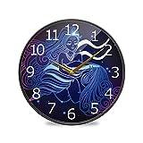 Acuario signo del zodiaco pintado acrílico silencioso sin garrapatas, redondo, 25,4 cm, funciona con pilas, reloj de escritorio silencioso para el hogar, dormitorio, sala de estar, decoración