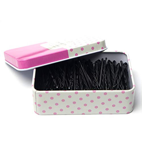Hair Bobby Pins Black/Brown/Blonde/Silver with Cute Case, 200 CT Bobby Pins for Buns, Premium Hair Pins for Kids, Girls and Women, Great for All Hair Types, 2.16 Inches (Black)