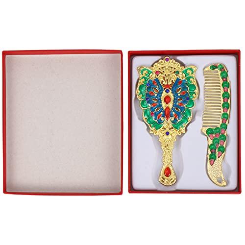FOMIYES 2 unids vintage espejo peine pavo real retro portátil espejo de mano viaje peine cepillo para el bolsillo al aire libre bolso dorado