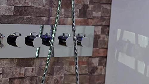 Accesorios de baño para ducha de lluvia, lluvia, lluvia, cascada, ducha de lluvia, plato de ducha termostático con chorro lateral (tipo de grifo de baño y ducha: juegos de ducha)