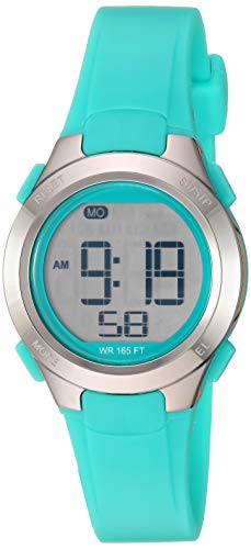 Amazon Essentials Women's Digital Chronograph Silver-Tone and Teal Resin Strap Watch