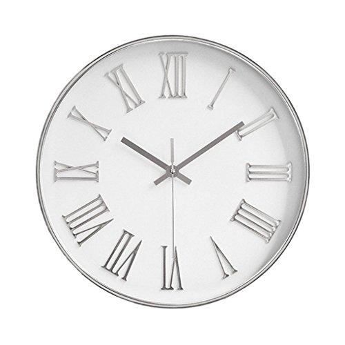 perfk Decoración de La Oficina en Casa del Reloj de Pared del Vintage del Número Romano Elegante Lamentable Grande - Plata, Individual