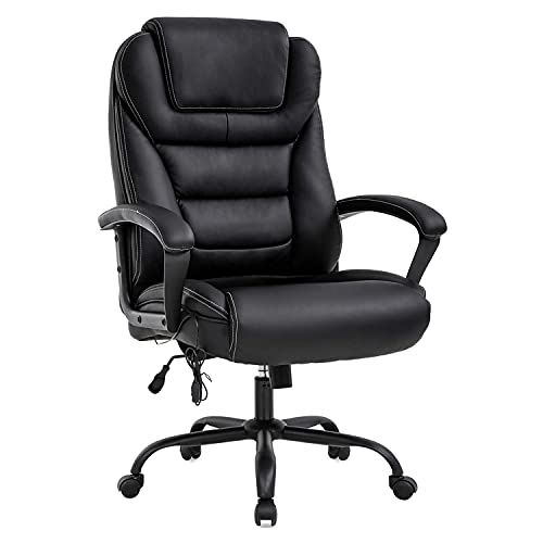 LCH Office Chair Big and Tall 500 Pound Wide Seat, PU Leather Executive Computer Chair High Back, Home Office Desk Chairs for Heavy Duty Large People(Black A)