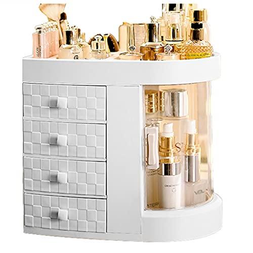 YXYH Organizador De Maquillaje, 180 Grados Rotación Ajustable Almacenamiento Cosméticos Perfumes De Joyería 5 Capas para Pinceles Maquillaje Barras De Labios (Color : White)