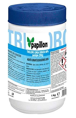 Papillon Cloro Lunga Durata 90% TRICLORO per Piscina in PASTIGLIE 20 Grammi - kg 1