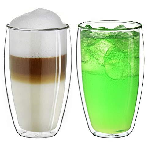 """Creano doppelwandiges Thermoglas 400ml """"DG-SH"""", großes Doppelwandglas aus Borosilikatglas, doppelwandige Kaffeegläser, Teegläser, Latte Gläser 2er Set"""