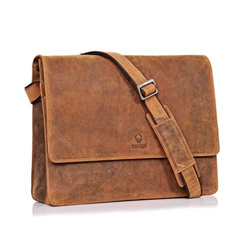 DONBOLSO Barcelona Messenger Bag Leder I Umhängetasche für Laptop I Aktentasche für Notebook I Tasche für Damen & Herren (Braun)