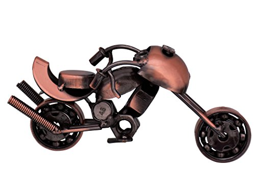 Purpledip Collectible: Handgemaakte Rustieke Miniatuur Motorfiets Showpiece Cadeau voor wegliefhebbers (10714)