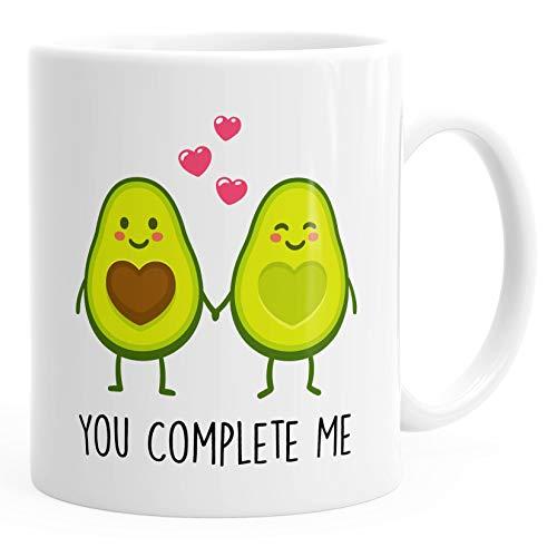 Kaffee-Tasse Geschenk-Tasse Liebe Avocado You complete me Valentinstagsgeschenk MoonWorks® weiß unisize