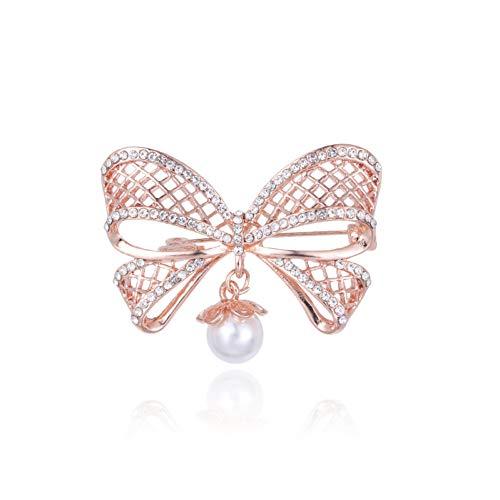RelaxLife Broche Exquisito Cristal Chapado En Color Oro Rosa Y Alfileres De Broche De Perla Simulada para Mujer