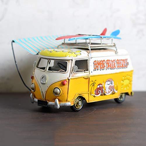 JSFQ Retro Metall Tour Bus Modell Gürtel Poncho Multifunktions Indoor Toy Car Model Collection kann als Bilderrahmen 4 Farben verwendet Werden (Color : Yellow)