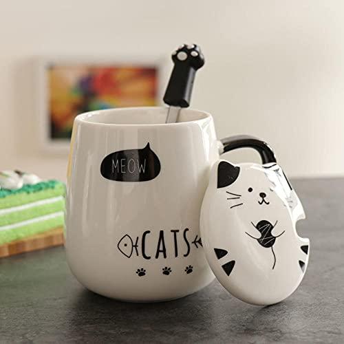mglxzxxzc Taza De Cerámica con Tapa Taza De Agua para El Hogar Simple para Niños Y Niñas Taza De Leche para El Desayuno Taza De Café para Oficina-Meow_400Ml
