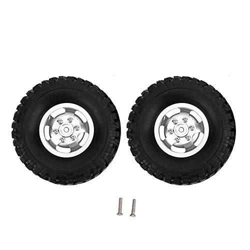 Tbest RC Auto Reifen, 2 stücke Metall Gummi Mini Reifen Upgrade Zubehör Fit für WPL C14 C24 B14 B24 B16 B36 LKW Modell Spielzeugauto(Silber)