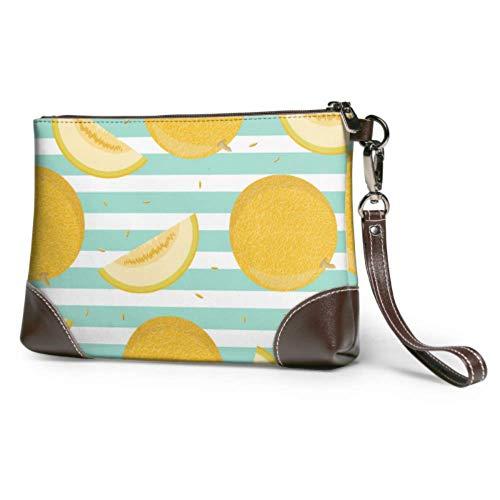 XCNGG Weiche wasserdichte Damen Leder Wristlet Brieftasche voll reif gelb Vollkorn geschnitten Melone Damen Clutch Taschen mit Reißverschluss für Frauen Mädchen